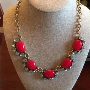 Stella & Dot Mae Red Gold Rhinestone Necklace